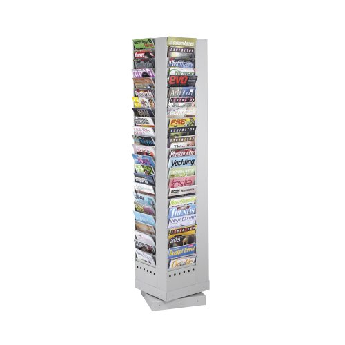 Safco Products 4325GR Steel Rotary Magazine Rack, 92 Pocket, Light Gray