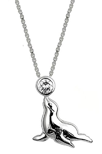 (Sterling Silver Sea Lion Pendant Necklace Jewelry for Women)
