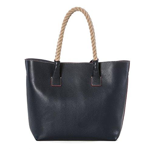 Arcadia cuir concepteur sac fourre-tout nautique sac à main avec poignées en corde - Bleu marine