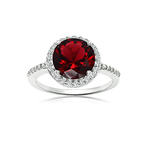 January Birthstone Ring - Sterling Silver Simulated Garnet and Cubic Zirconia Round Halo Ring, Size 5