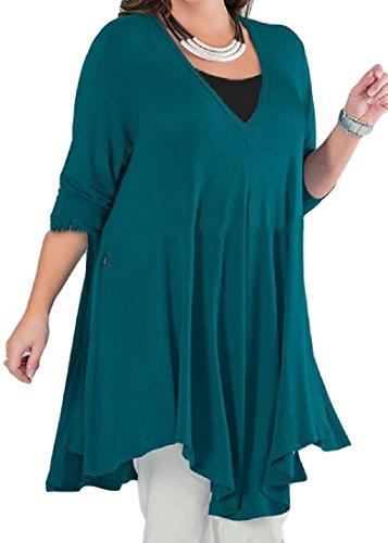 Elegante Longitud Vestido Pattern2 Irregular Mediados Del Tama lida Mujeres De Gran S Las C Cuello V modas o 7nUq6wxCp