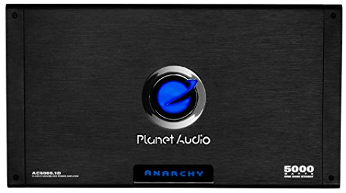 Planet Audio AC5000.1D Anarchy 5000 Watt, 1 Ohm Stable Class D Monoblock Car Amplifier with Remote Subwoofer Control