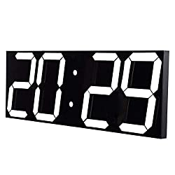 Goetland 17-3/5 inches Jumbo Wall Clock LED Digital Multi Functional Remote Control Countdown Timer Temperaturer, White Digital on Black Background