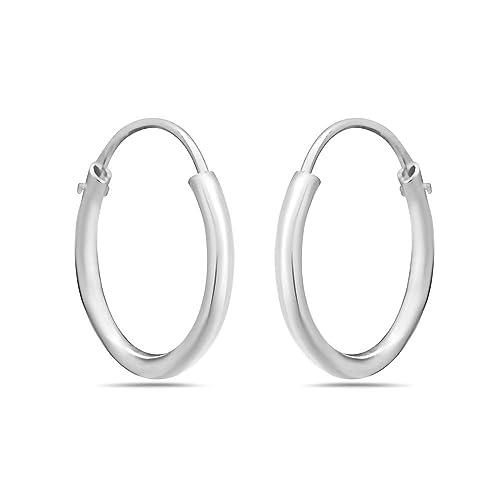 7f0467ce0ab8c 925 Sterling Silver Hoop Earrings in 12mm, 14mm, 20mm or 40mm – Nickel Free  Huggie Hoop Earrings