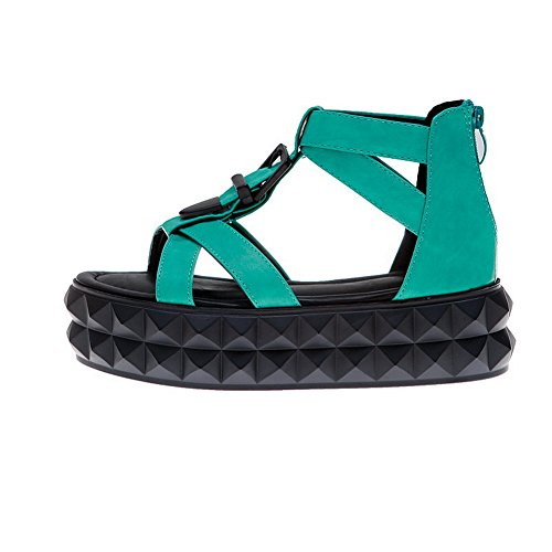 Amoonyfashion Kvinnor Zipper Låga Klackar Pu Fast Öppen Tå Sandaler Gröna