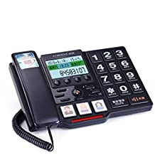 Telephone, Home Fixed Telephone, Old Person landline, Large Screen Button landline,Black