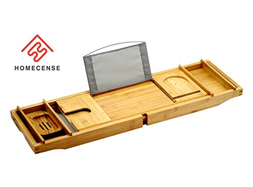 HOMECENSE Premium Bamboo Bathtub Caddy Tray with Extending Sides, Adjustable Reading Rack, Tablet Holder, Cellphone Slot, Wine Glass Slot, Soap Dish, Two Side Trays