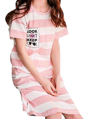 Carino Vestito Settimana Coolred Pattern2 Fine Pelo Larghi Cotone Fumetto Maniche A donne Casuale Girocollo Stile Di Corte Di pqwCB5xg5