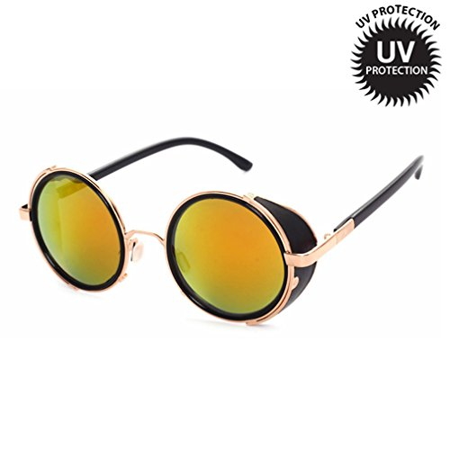 LOMOL Retro Steampunk Rock Metal Frame UV Protection Round Sunglasses For - Wear Glasses Oversized To How