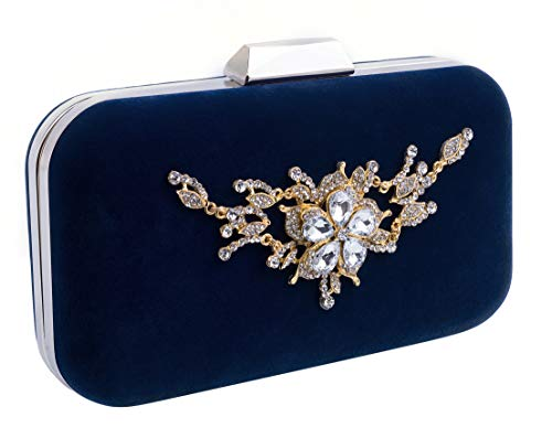 Velvet Evening Clutches Purses for Women Elegant Wedding Party Handbags Crystal Clutches(Blue)