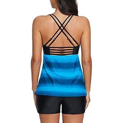 Zando Women Two Piece Stripe Swimwear Vintage Skirted Swimdress Beachwear Push Up Swimsuits for Women Boyshort: Clothing