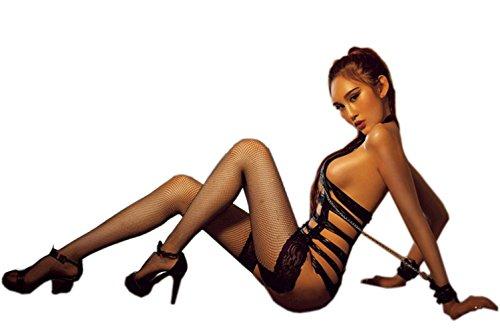GEOOT-Womens-Erotic-Punk-Vinyl-Leather-Like-Teddy-Wet-Lingerie-Leash-SetSteel-Tube-Dance