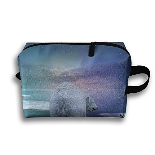 Travel Cosmetic Bag Winter Snow Polar Bear And Penguins Unisex Makeup Bag Zipper Wallet Hangbag Wristlet Holder -