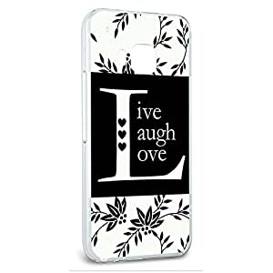 Snap On Protective Slim Hard Case for HTC One M9 Love and Hearts - Live Laugh Love Black White
