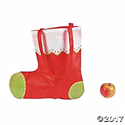 12 STOCKING SHAPED TOTE BAGS 17 1/2 x 17 ,with 11 handles Christmas