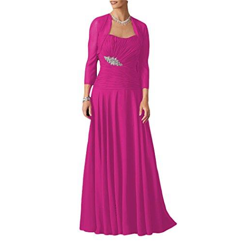 Dressyu Chiffon Jacket Women Fuchsia Dress for s with the of Mother Bride Long Wedding rtA1qwr