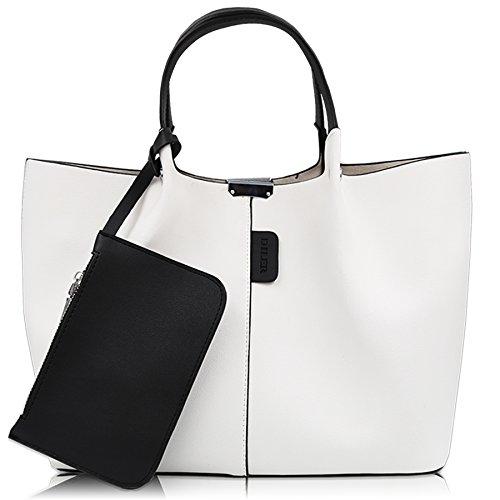 DILER Women Purse Handbags Wallets Bag Set Shoulder Bag Large Tote Bag Top Handle Satchel White (Wallet Bag Tote Purse)