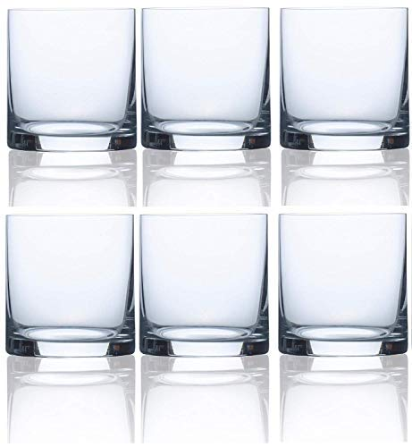 Circleware Soiree Double Old Fashioned Whiskey Glasses, Set of 6 Drinking Glassware for Water, Juice, Iced Tea, Beer, Wine, Liquor Brandy, Bourbon and Beverage Gift, 14.8 oz, Bohemia DOF 6pc.