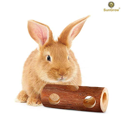 SunGrow Fresh Pine Chew Log for Rabbits by 100% Natural Biodegradable Lumber- Contemporary Textured Design - Provides Physical and Psychological Benefits - Ideal for Sussex, Lop and Chinchilla