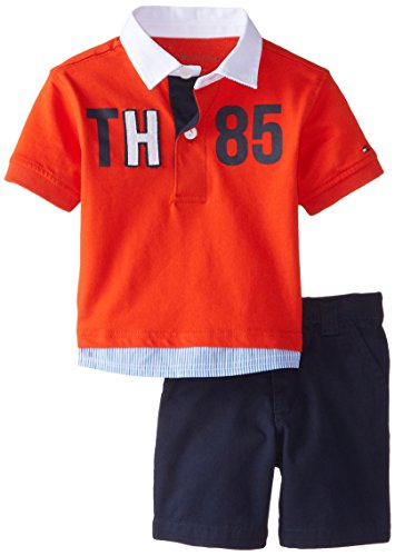 Tommy Hilfiger Baby Boys' Short Sleeve Rugby Polo with Flat Front Short, Laser Beam, 12 Months (Pique Cotton Rugby)
