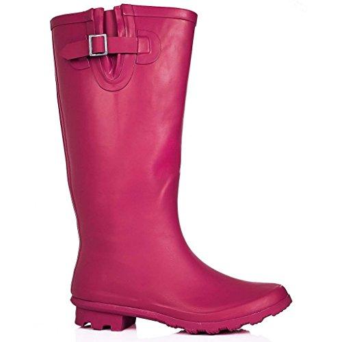 Spylovebuy Karlie Flat Festival Wellies Wellington Kniehoge Regenlaarzen Hot Pink