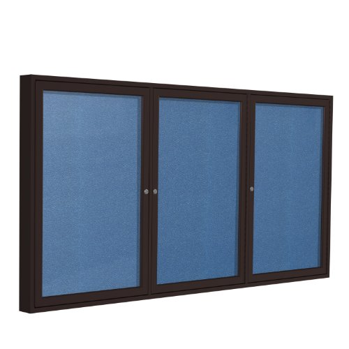 Top 3 Door Outdoor Enclosed Bulletin Board Frame Finish: Bronze, Size: 4' H x 6' W, Surface Color: Ocean for sale