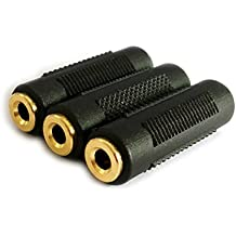 Ksmile® 3 Pack 3.5mm Stereo Jack to 3.5mm Stereo Jack Adaptor Connectors, Gold Plated, Female to Female (3 Pack)