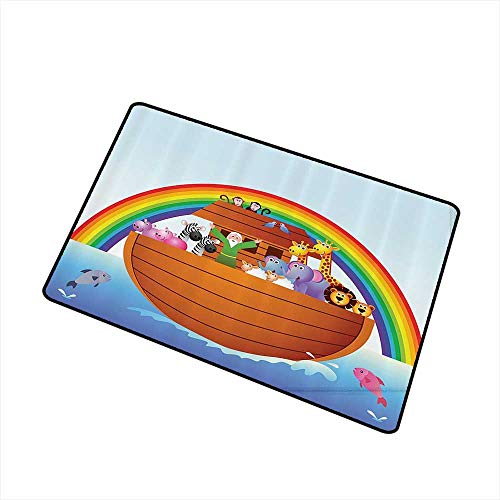 (Mdxizc Outdoor Door mat Noahs Ark Decor Collection Noah Ark Colorful Sky Every Kind of Creature Sails Artful Design W30 xL39 Easy to Clean Green Blue Yellow)