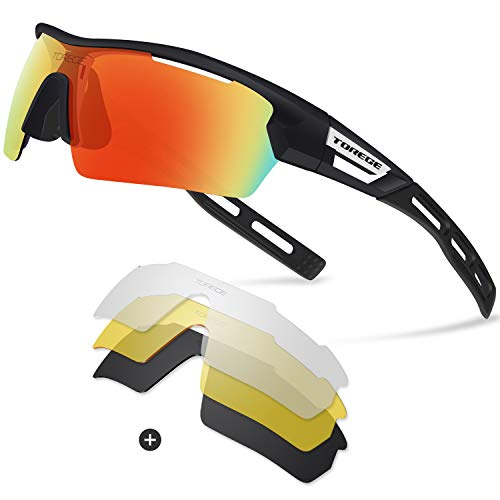6ca99d0e79 Torege Polarized Sports Sunglasses With 4 Interchangeable Lenes for Men  Women Cycling Running Driving Fishing Golf Baseball Glasses EMS-TR90 Frame  TR033