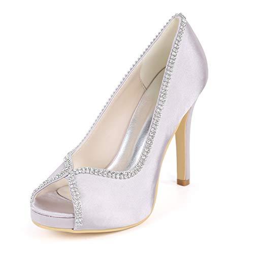 De L Cm Diamantes Peep Tacones Zapatos Satén 11 Con Mujer Nupcial Corte Alto Gray Tacón Imitación Toe yc wUgU4qt