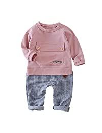 LIKESIDE Kid Baby Girls Boys Solid Pocket Pullover Tops+Stripe Pants Outfits Set