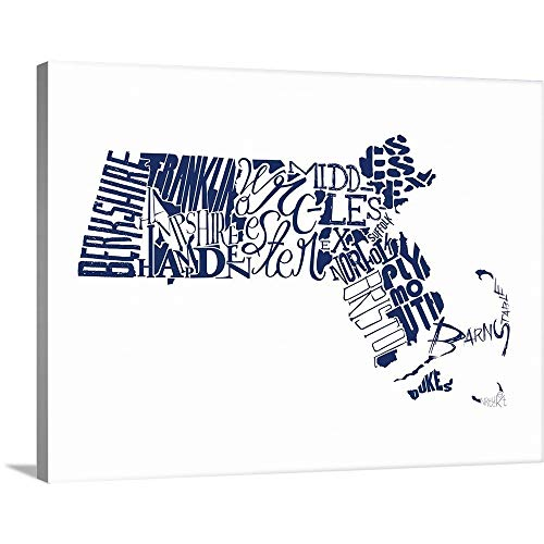 GREATBIGCANVAS Gallery-Wrapped Canvas Entitled Massachusetts Typography map by Jace Grey 40