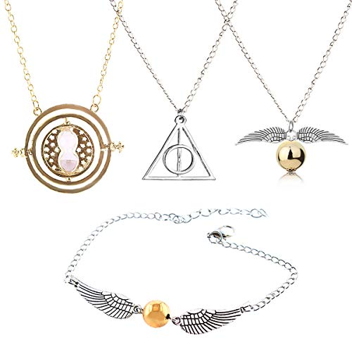 GeeVen 4 Piece Necklace Bracelet with The Deathly Hallows Golden Snitch Time Turner Chain Pendant Necklace for Harry Inspired Fans Gifts Collections (Harry Potter Diy-kostüme)