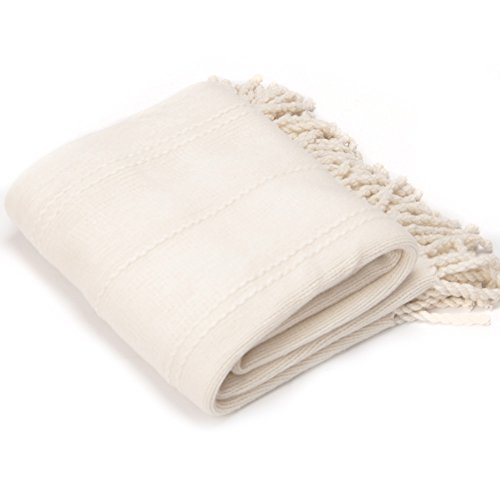 Battilo Inc Cable Knit Woven Luxury Throw Blanket with Tasseled Ends, 50