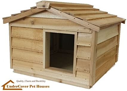 Outdoor Cat House Large Insulated Cedar House for 2 Cats or a Dog Small Dog House with Roof
