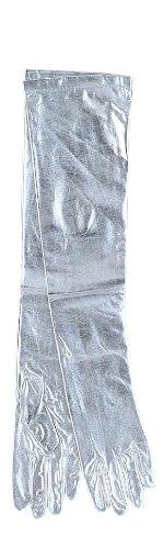 Lame Adult Gloves (Silver Shoulder Length Lame Gloves Adult Halloween Accessory)