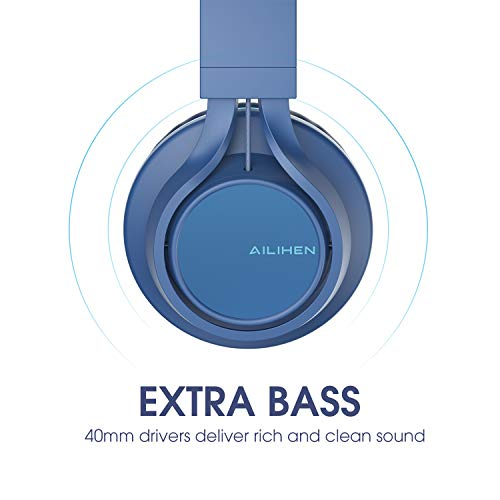 Upgraded Headphones with Microphone and Volume Control Folding Ligh AILIHEN C8