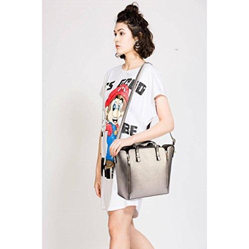 LeahWard® Damen Groß Schulter Handtaschen nett Groß Taschen Tragetasche 502 Grau mit Zwei Reißverschluss IL8BjI