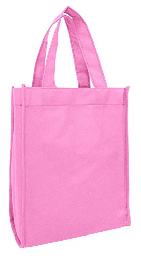 set of 12 small gift tote bag book bag bulk non woven bag art craft christmas day gift bags pink