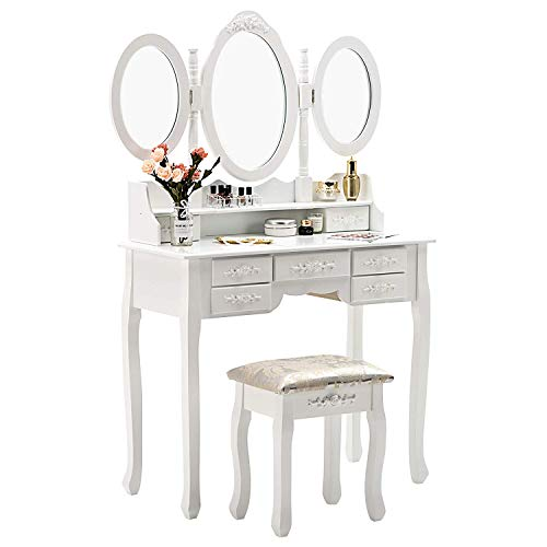 Women Table Set with Trifold Mirrors, Cushioned Stool and Surprise Gift Organizer with 7 Drawers White