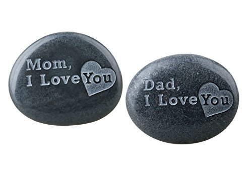 (rockcloud Black Engraved Inspirational Stones Love Stones, Mother's/Father's Day Gift )