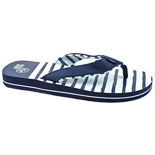 LADIES URBAN BEACH KALAHEO NAVY BLUE & WHITE FLIP FLOPS TOE POST BEACH SANDALS -UK 5 (EU 38)