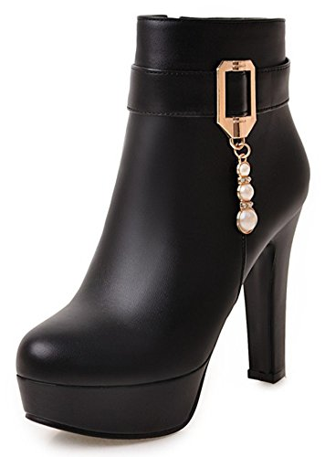 Platform Women's Boots Black Heel Round High Belt Toe Zipper Stylish Ankle Side Chunky Buckled Aisun O64dwz8qO