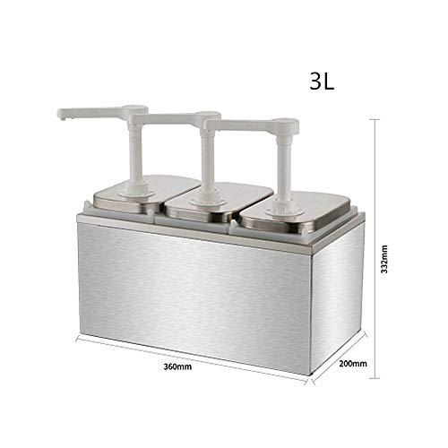 - KUNHEWUHUA 1L/2L/3L Sauce Dispenser Pump Stainless Steel Condiment Pump Station for Salad Jam Seasoning Sauce Squeeze (3L)