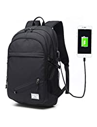 Keynew Business Laptop Backpack with USB Charging Port for Men Waterproof Computer Backpacks Fits Under 15.6 Inch Laptop