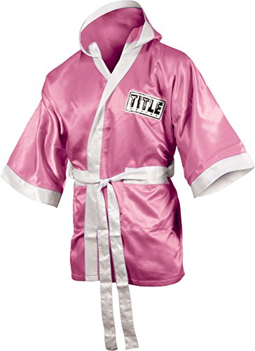 - TITLE Boxing 3/4 Length Stock Satin Robe, Pink/White, Large