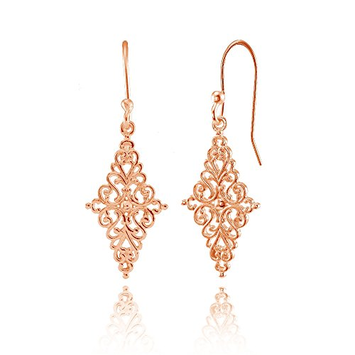 Rose Gold Flashed Sterling Silver Diamond-Shape Filigree Polished Dangle Earrings