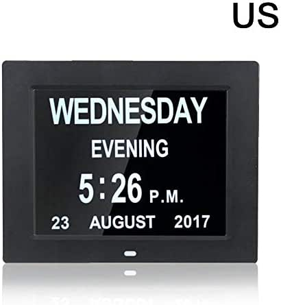 wang JESS 8-Inch Alarm Clock Calendar, LED Multilingual Digital Calendar Clock with Large Letter Week/Month/Year for Memory Loss Elderly Seniors, Impaired Vision, Kids, Home