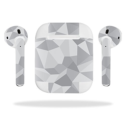 MightySkins Protective Vinyl Skin Decal for Apple AirPods wrap Cover Sticker Skins Gray Polygon from MightySkins