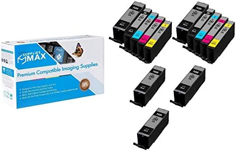 7-BK//2-C//M//Y SuppliesMAX Compatible Replacement for Canon PIXMA TR-7520//8520//TS-6120//8120//9120//9521 Super High Yield Inkjet Combo Pack PGI-280/_5PK//CLI-281MP/_2PK